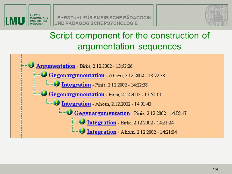 Script component for the construction of argumentation sequences