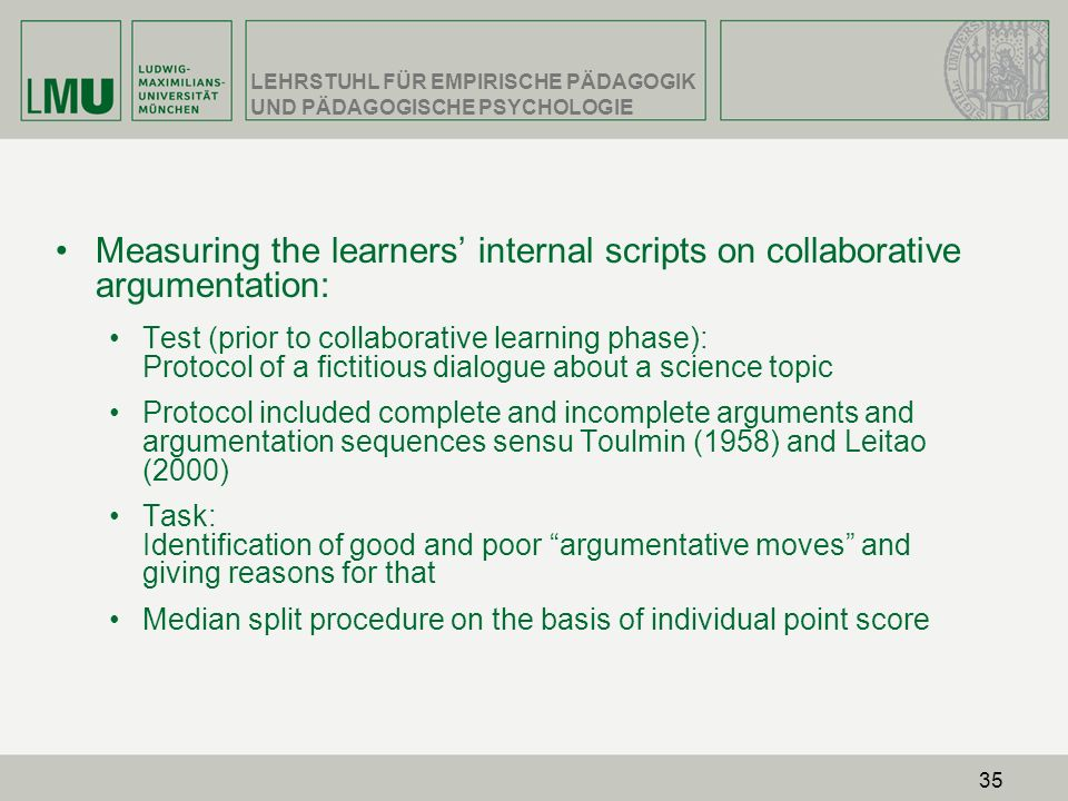 Measuring the learners' internal scripts on collaborative argumentation: