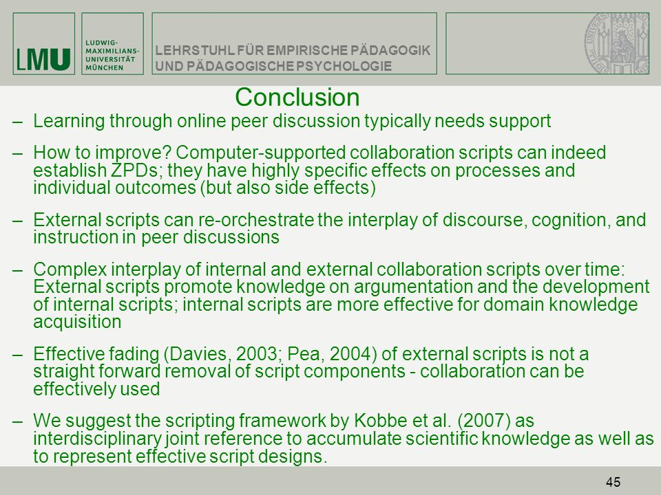 Conclusion Learning through online peer discussion typically needs support.