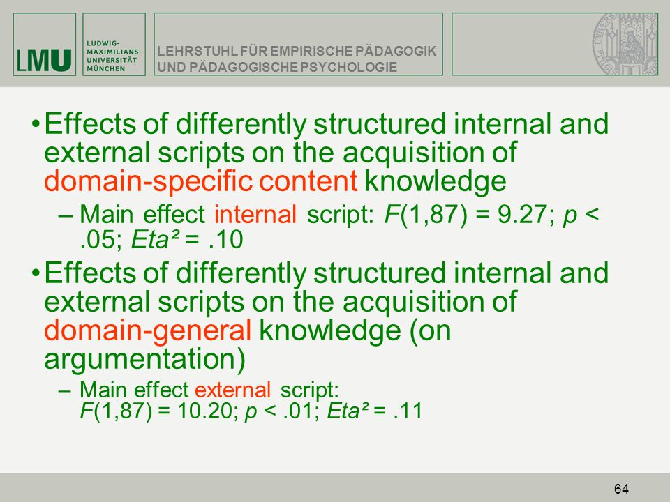 Effects of differently structured internal and external scripts on the acquisition of domain-specific content knowledge