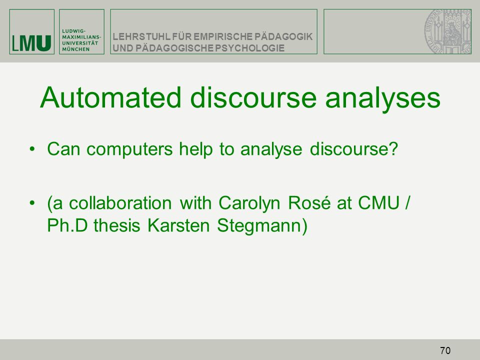 Automated discourse analyses