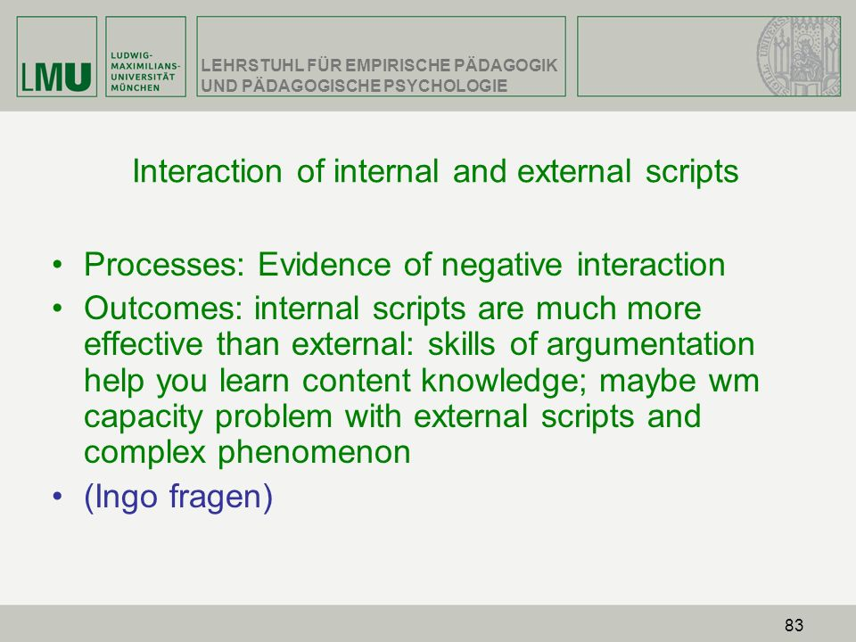 Interaction of internal and external scripts
