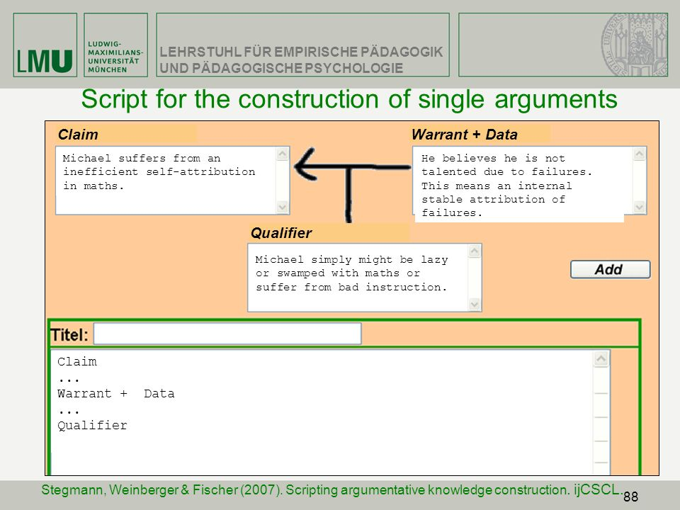 Script for the construction of single arguments